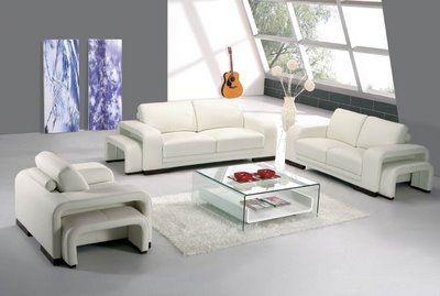contemporary white leather sofa
