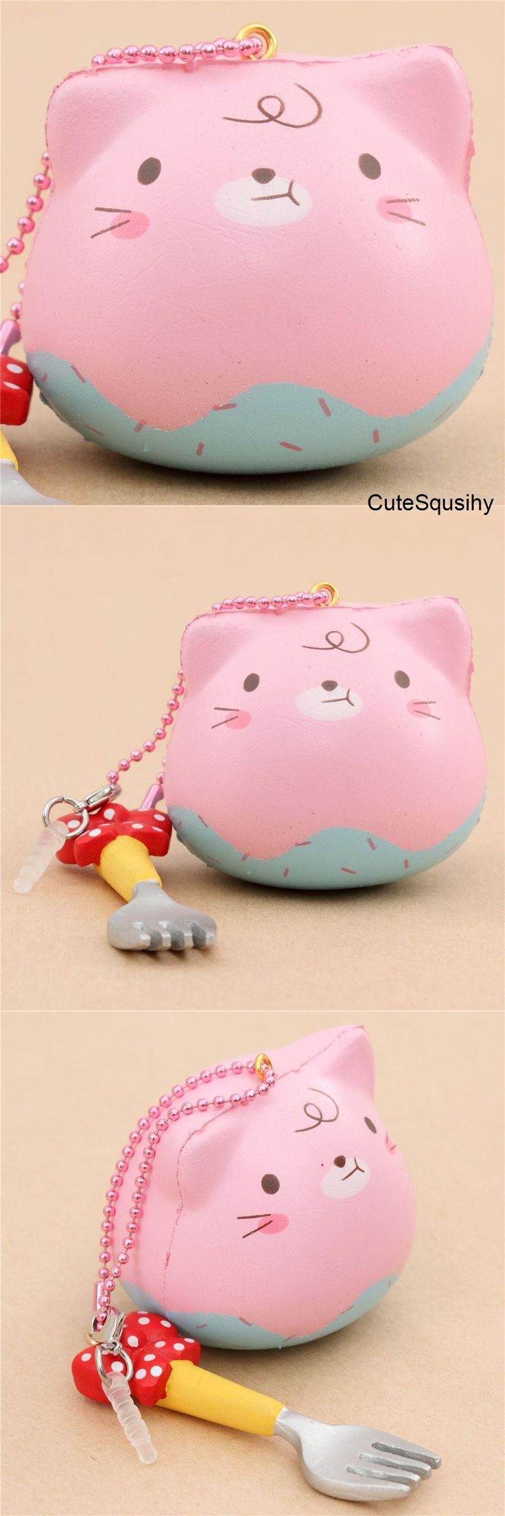 Kawaii pink cat squishy dipped in cotton candy ice cream!
