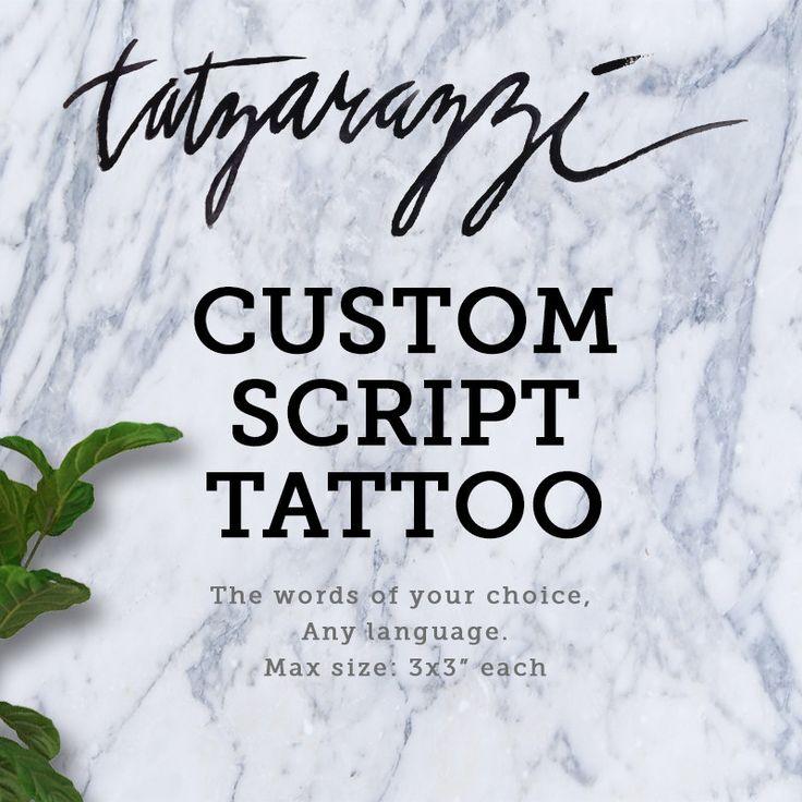 CUSTOM SCRIPT TATTOO handwritten calligraphy fake temporary tattoos by Tatzarazzi