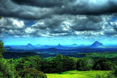 5 Best extinct volcano sites in Australia. This pic is of the Glasshouse Mountains in Queensland. About 30 minutes from my home. This is one flyover that should be done in a hot air balloon.