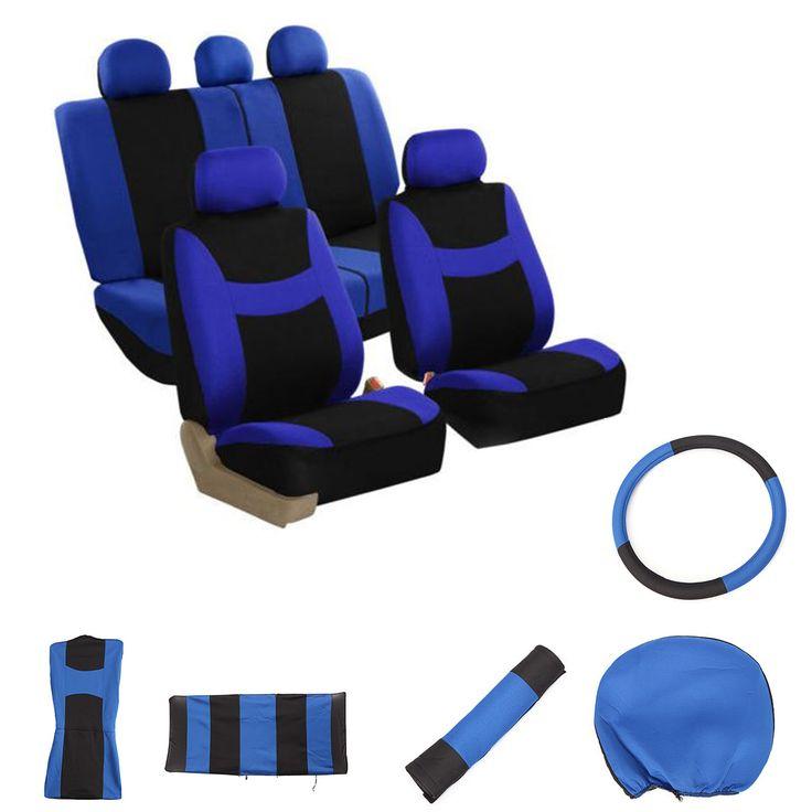 Universal Car Seat Covers Protectors Full Set Steering Wheel Cover Belt Pad