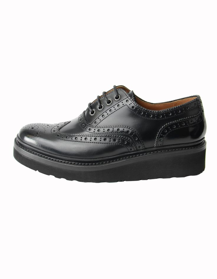 Grenson Black Emily Rub Off Brouges | Accent Clothing