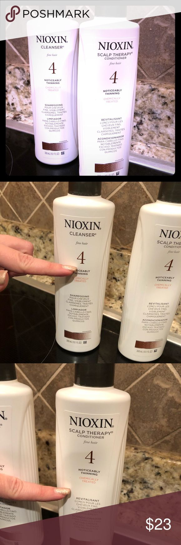 """Nioxin """"4"""" Shampoo and Conditioner Brand:  Nioxin Type:  for fine hair chemically treated """"4"""" Condition:  used 