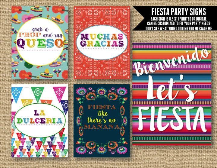 Fiesta Birthday Party, Fiesta Celebration, Fiesta Party Decoration, Fiesta Party Decor, Fiesta Party Signs, Mexican Celebration, Party Signs by NOLALOULOU on Etsy