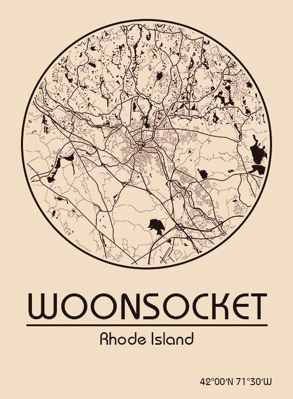 Karte / Map ~ Woonsocket, Rhode Island - Vereinigte Staaten von Amerika / United States of America / USA
