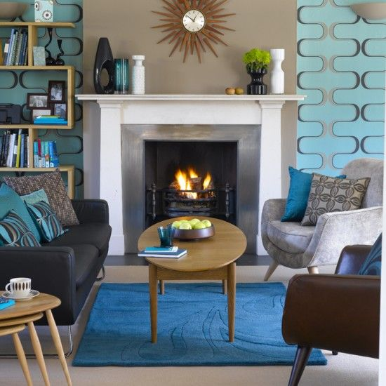 Walls beside fireplace are different from rest of room, Retro living room | Living room design | Decorating ideas | housetohome.co.uk. Perfect furniture placement and bookshelf beside fireplace would work in our living room.