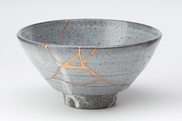 """Kintsugi: """"It is a practice in Japan where they mend cracked or broken ceramics with gold, rendering the piece even more beautiful than it started out. The idea behind it is not to hide the ugliness and brokenness but instead to use gold to make it shine; to illuminate and expose the damage. And at the end of the process the piece is even more beautiful having been broken."""""""