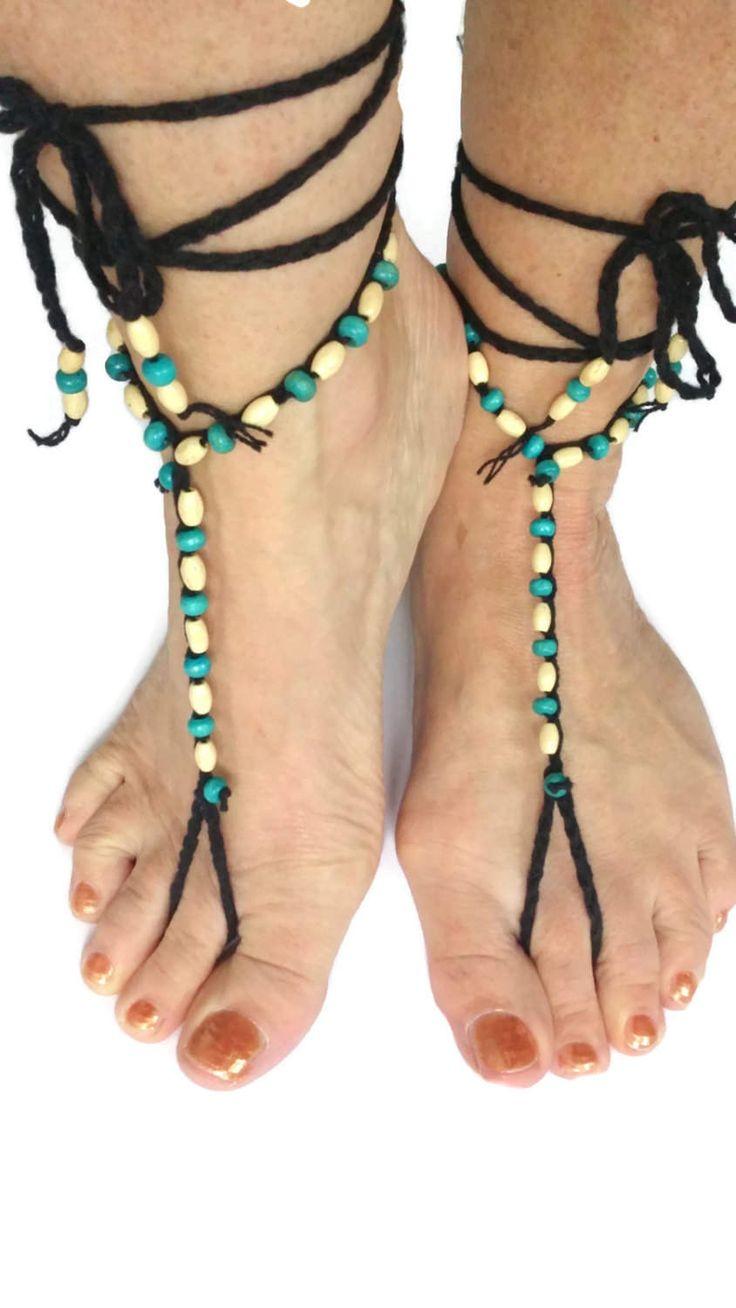Black Barefoot sandals Turquoise Cream  Beaded Crocheted Beach Yoga Festival Pool Slave anklet Crochet by thekittensmittensuk on Etsy