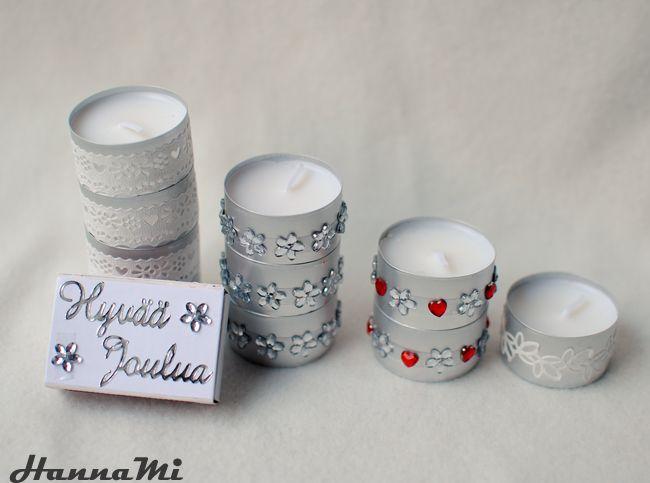 DIY: Tuikkukynttilöitä ja tulitikkurasioita (tealight candles and matchboxes)