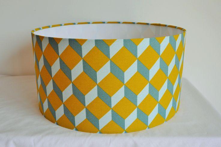 Abat jour cylindrique 40 cm - Supension - formes géométriques - cubes - moutarde bleu gris : Luminaires par belamp