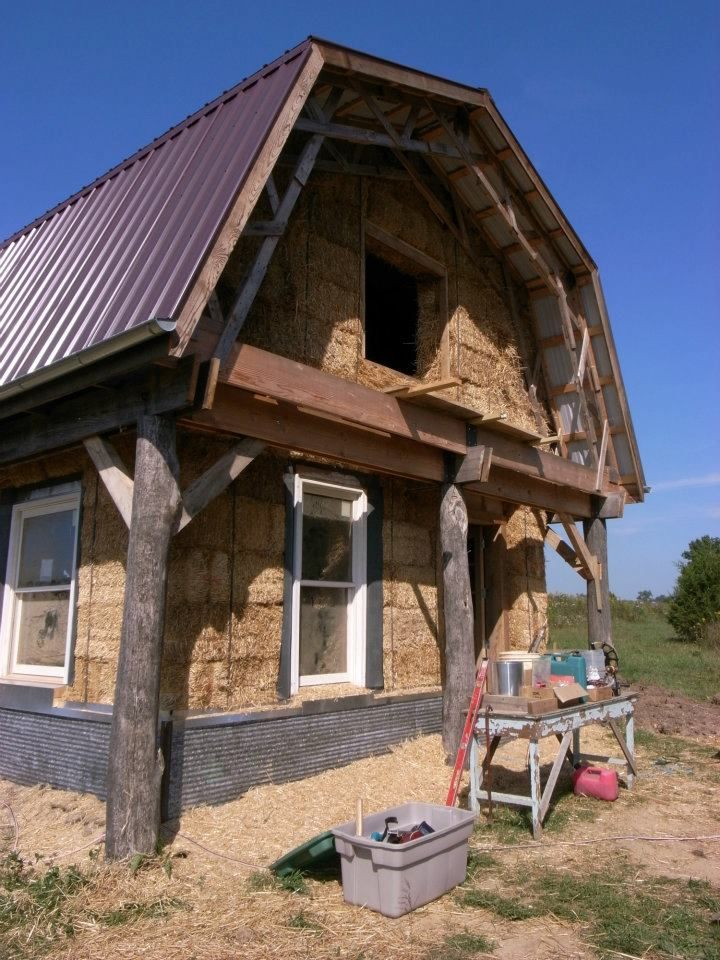Straw bale home, shown here, can incorporate cob. R factor of 33 or higher makes these homes excellent in any environment.