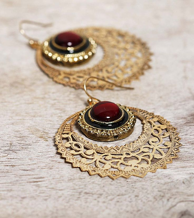 Gypsy Living Traveling In Style| Serafini Amelia| Gypsy Style-Gold Filigree Earrings