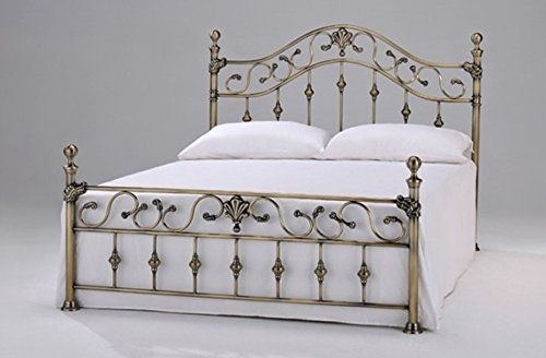 "Elizabeth 4ft 6"" Double Brass Bed with Brass Finials by Harmony Beds: Amazon.co.uk: Kitchen & Home"