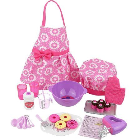 Click n' Play Doll Baking Set with Apron and Chef Hat, Perfect For 18 inch American Girl Dolls