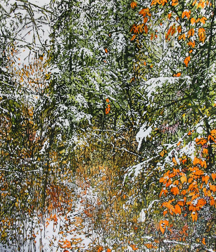 "overnight snowfall 53 33"" x 29""   micheal zarowsky - watercolour on arches paper / available  2700.00"