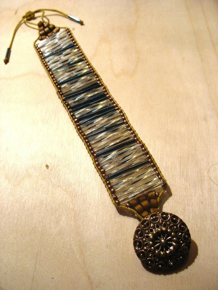 tube beads crochet bracelet.