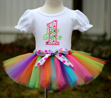 Personalized Confetti Polka Dot Birthday Tutu Outfit