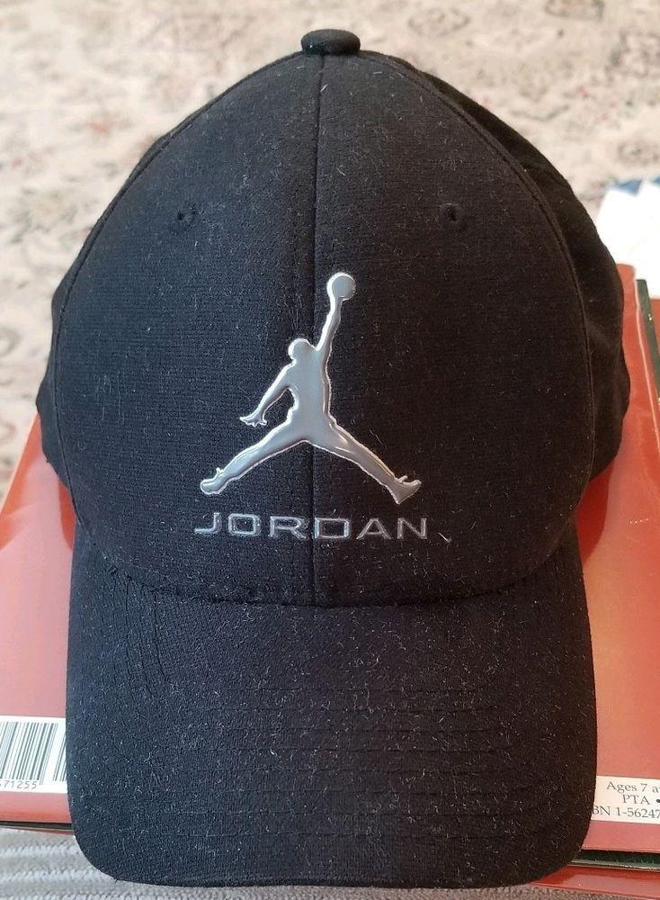 Flex Fit Black Air Jordan Baseball Hat L XL Cap Jumpman EUC Silver Logo 23 f2744f722f2