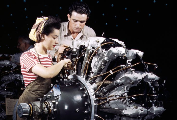 Women are trained as engine mechanics in thorough Douglas training methods, at the Douglas Aircraft Company in Long Beach, California, in October of 1942.: World War Ii, Long Beaches, Douglas Training, Thorough Douglas, Douglas Aircraft, Engine Mechanical, Aircraft Company, Training Method, Beaches Photos