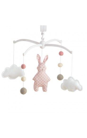 Mobile musical Lapin Rose poudré par Pouce et Lina pour la décoration de la chambre d'enfant, à suspendre au-dessus du lit à barreaux de bébé. Mélodie au choix.