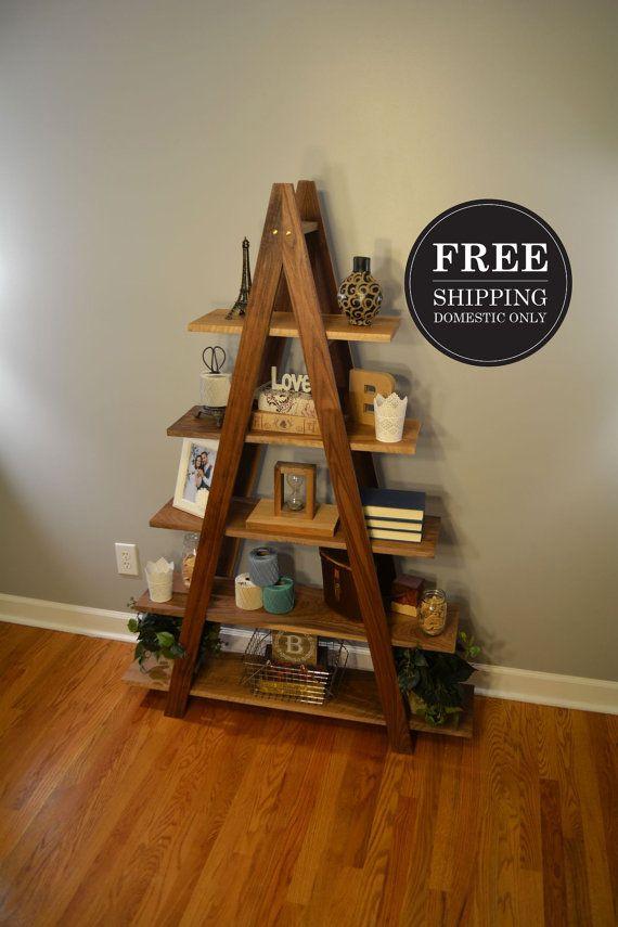 FREE SHIPPING Cascade Ladder Shelf  Walnut Bookshelf  A Frame by reclaimerdesign