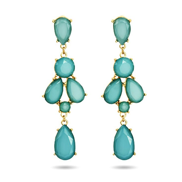 Set in gold vermeil, these Peardrop Teal Chandelier Earrings are perfect for adding a pop of color to both formal & casual outfits. Ships within 24 hours! (side note, I got these as a gift, and they are pretty, but not like the color in picture, not as vivid. Also, they are VERY heavy and pull on lobes. Most likely will be returning these.