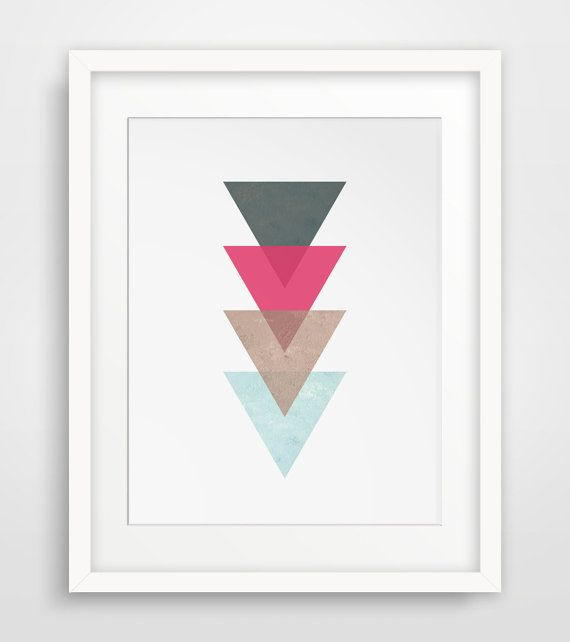 Triangle Print Coral Red Coral Art Coral Red by MelindaWoodDesigns #Triangledecor