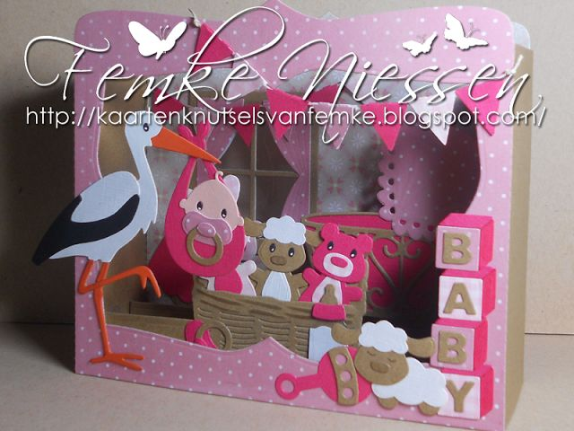 Made by Femke Niessen: baby shadowbox card. The materials I used can be found on my blog.