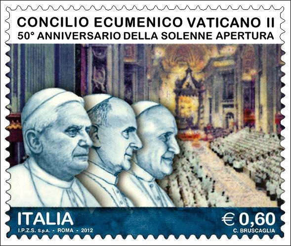 Francobollo celebrativo del Concilio Ecumenico Vaticano II, nel 50° anniversario della solenne apertura.