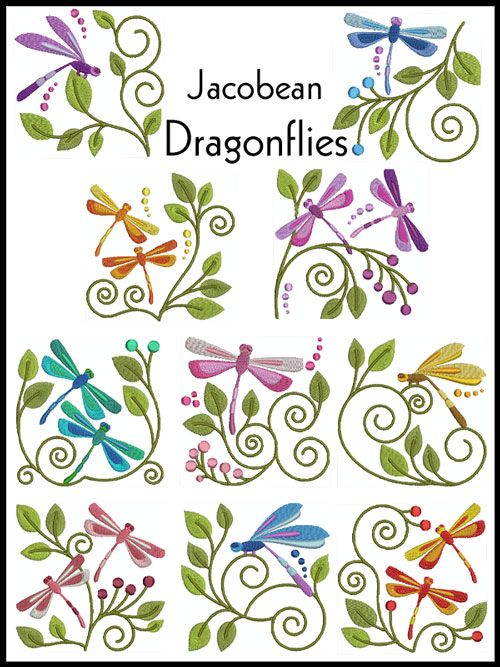 Jacobean dragonflies. Embroidery Designs | Free Machine Embroidery Designs | JuJu