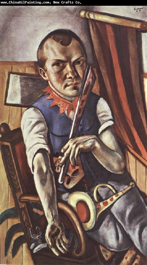 막스 베크만(Max Beckmann)의 자화상 / 독일 표현주의 화가였던 막스 베크만은 1차 대전 당시 위생병으로 근무하며 겪었던 트라우마를 그림에 녹여냈다. 게다가 히틀러와 나치 정권의 탄압으로 그림 500여점이 몰수되기도 했다. 그 때문인지, 혹은 표현주의의 영향인지 그림이 비뚤고 왜곡된 시각일 때가 많았다. 그는 많은 자화상을 그렸는데 익살맞고 슬픈 자신의 초상을 통해 자신의 현실을 역설적으로 표현한듯 하다.