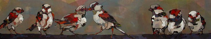 Een zeer langwerpig doek is gevuld met een paars muurtje met vogels in verschillende houdingen. De twee vogels in het midden hebben alleen oog voor elkaar. Anderen zitten lekker onderuitgezakt en dommelen relaxed weg. Een ander kijkt opgewonden rond en weer een ander kijkt de toeschouwer een tikkeltje brutaal doch aandachtig aan. Het tafereel is geschilderd op bruin ruw linnen dat voornamelijk aan de bovenzijde van het schilderij doorschijnt.