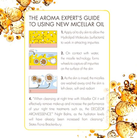 The Aroma Expert's Guide to Using New Micellar Oil 1. Apply oil to dry skin to allow the Hydrolipid Molecules (Surfactants) to work in attracting impurities. 2. On contact with water, the Micelle Technology forms wheels to capture all impurities on the surface of the skin. 3. As the skin is rinsed, the Micelles are washed away and the skin is left clean, soft and radiant.