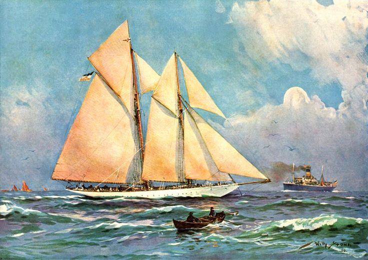 Willy Stöwer - Schoneryacht von einunddreißig Segel Metern bei einer Segelregatta