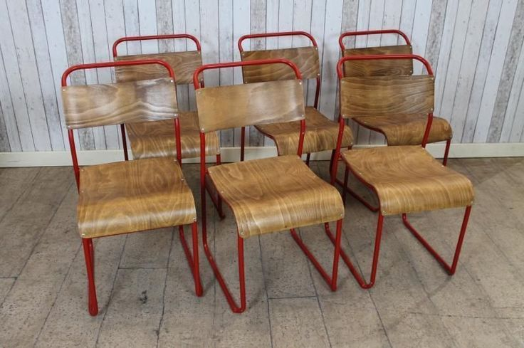 VINTAGE INDUSTRIAL STACKING SCHOOL CHAIRS WITH RED FRAMES RETRO STACKABLE CHAIRS in Antiques, Antique Furniture, Chairs | eBay