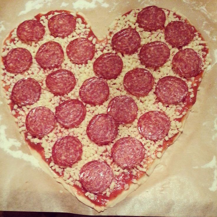 #pizza #heart #shaped #pepperoni #homemade #love
