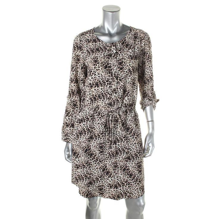 Vince Camuto Womens Animal Print 1/4 Zip Wear to Work Dress