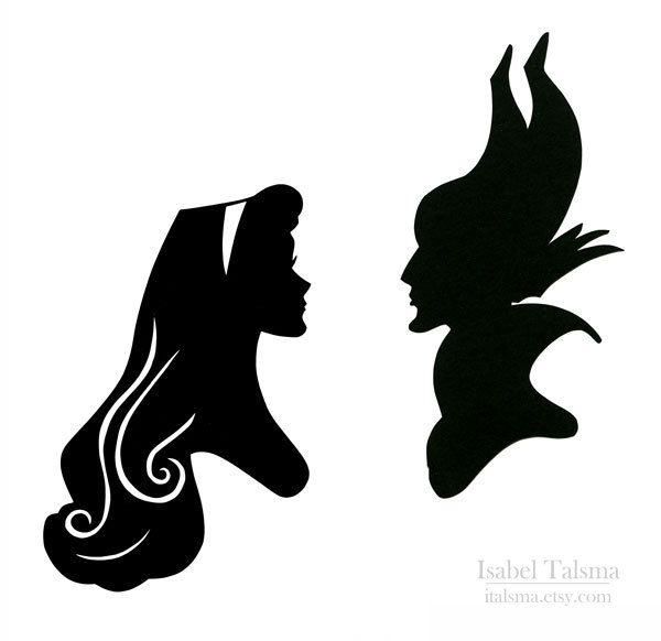 Sleeping Beauty (Briar Rose and Maleficent) Handcut Disney Silhouette