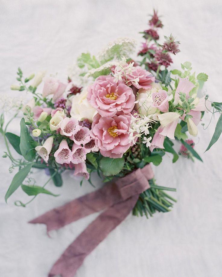 Plum Wedding Bouquet With Foxgloves Peonies Astrantia