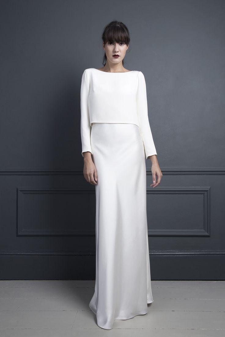 The 25 best minimal wedding dress ideas on pinterest minimalist halfpenny london long sleeved chic wedding dress uk bridal wear view more ombrellifo Images
