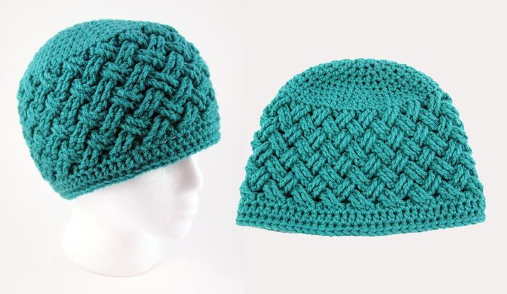 Thick, plush stitches with a woven appearance are worked up in a dreamy teal shade to make up this gorgeous Celtic Dream Crochet Beanie Pattern.