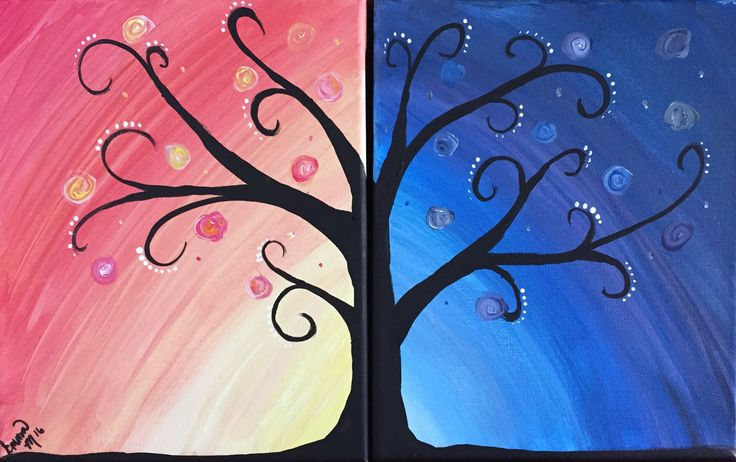 Couples Tree of Life, Great for mommy and me painting, easy smaller canvases