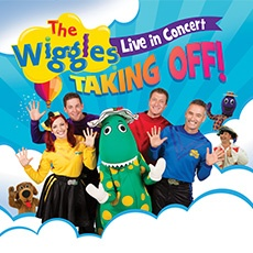Wiggles Concert Poster, colourful, simple graphics, main characters included, brand logo, and simple pattern.