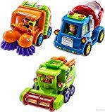WolVol (Set of three) Push and Go Friction Powered Automotive Toys for Boys  Avenue Sweeper Truck Cement Mixer Truck Harvester Toy Truck (Vehicles Have Computerized Capabilities)