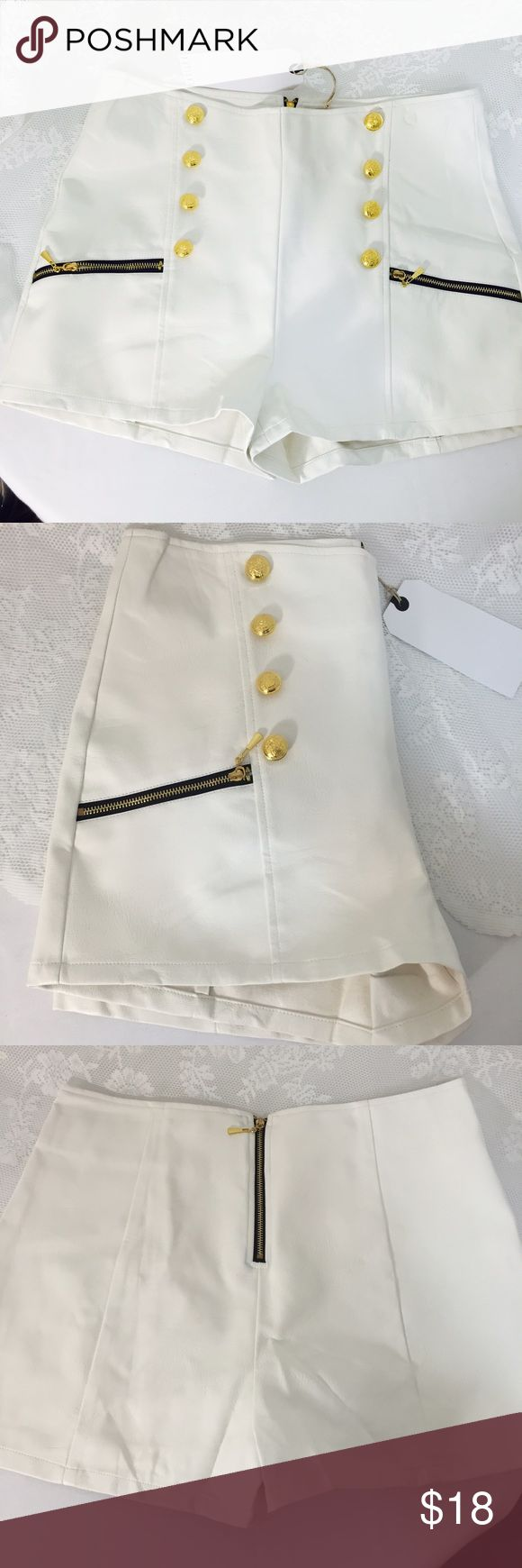White leather look shorts. White leather look shorts. 100% Polyurethane. Fits perfectly! Super sexy and stylish. I believe you will like it very much. gold bottons and zipper in front, also zipper on backside. #004 Potter's Pot Shorts