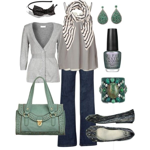 grey & teal  polyvore htothebEmeralds And Grey, Fashion, Closets, Clothing, Green, Outfit, Style Pinboard, Teal Bombs, Accessories