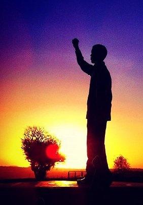 Nelson Mandela statue on Naval Hill, Bloemfontein, South Africa www.SouthAfricanTvAds.com