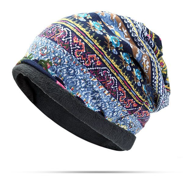 ff6c14906de Women Cotton Print Stripe Beanie Hats Casual Outdoor For Both Hats And  Scarf Use