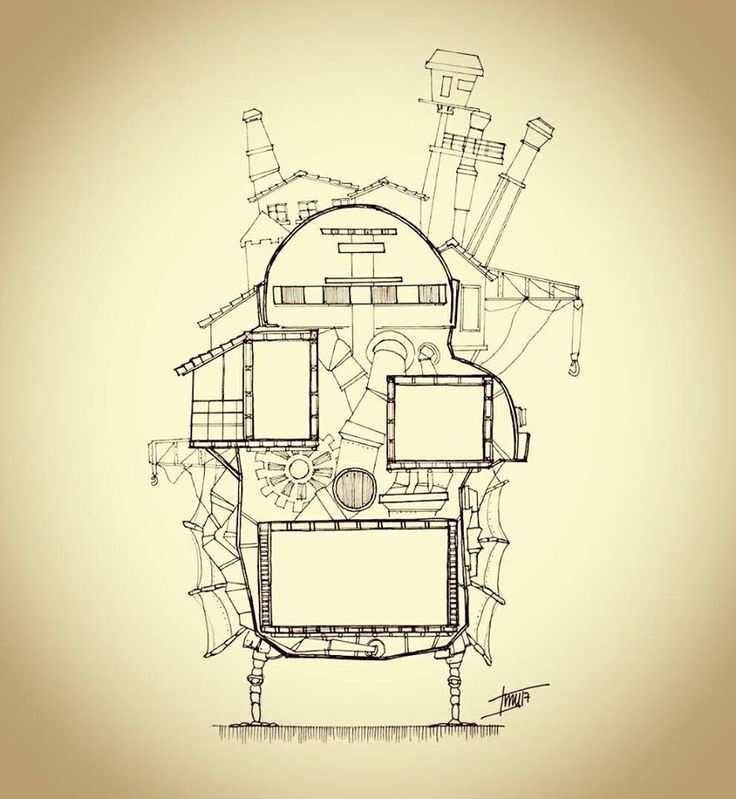 Planimetria, corte transversal. Howl no Ugoku Shiro / ハウルの動く城 / El castillo ambulante -Studios Ghibli- (camiconcas /arq_cfcc)