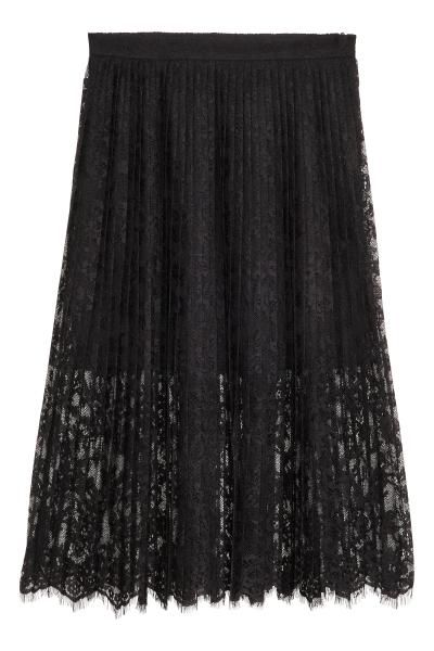 Pleated lace skirt: Calf-length pleated skirt in lace with a concealed zip in the side. Lined.